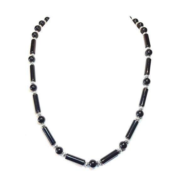 Black Onyx Semi-Precious Gemstone Necklace - 22.5 inches