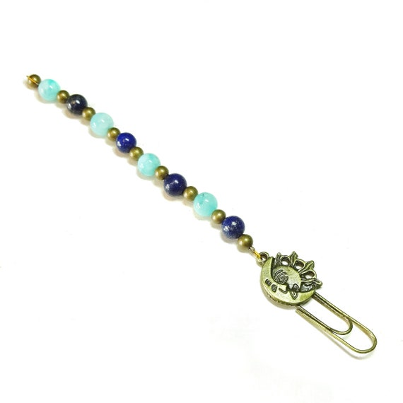 Blue Jade & Lapis Lazuli Gemstone Antique Brass Moon Sun Clip Bookmark