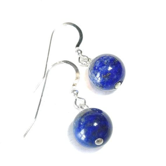Blue Lapis Lazuli & Sterling Silver Gemstone Ball Drop Earrings -  10mm