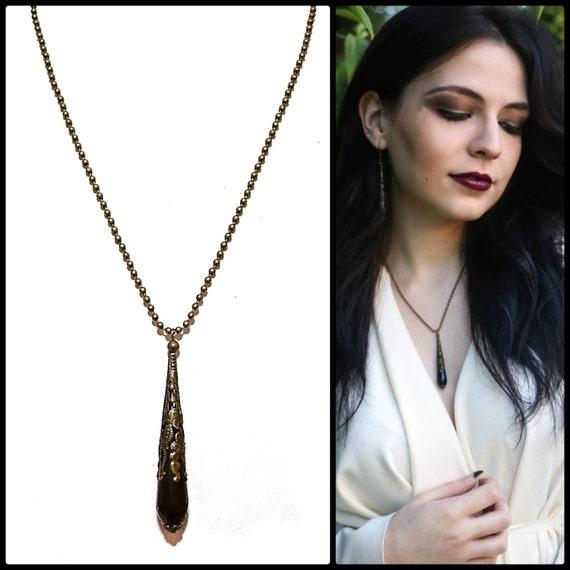 Gothic Black Onyx & Antique Brass Faceted Tear Drop Pendant