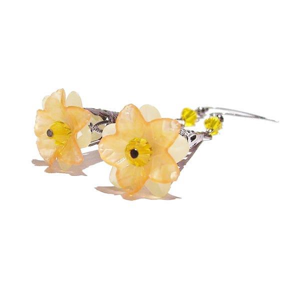 Yellow, Orange Long Filigree Gunmetal Earrings w Lucite Flowers & Crystals