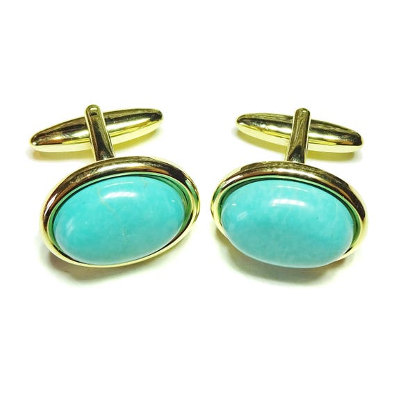 Blue Gemstone Cufflinks - Faux Turquoise