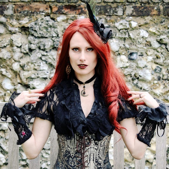 Black Velvet Choker Necklace w Antique Brass Crescent & Black Onyx