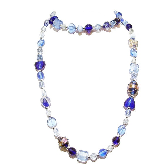Boho Style Long Mixed Bead Necklace - Blue 40""
