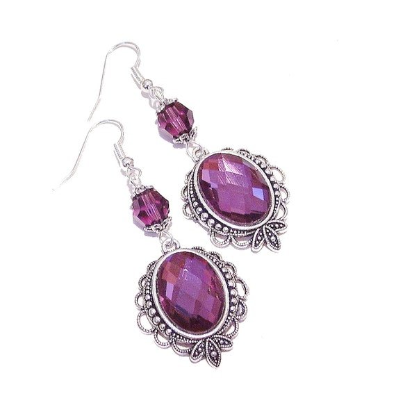 Calypso Faceted Crystal Gothic Earrings w Swarovski Crystals - Purple