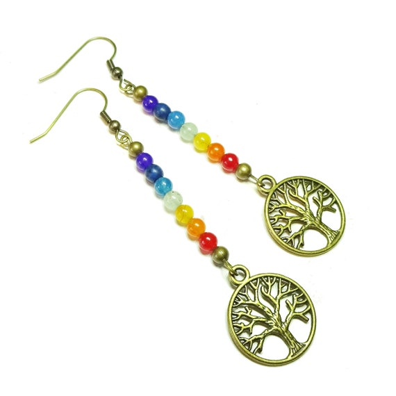 Antique Brass Tree of Life Gemstone Chakra Rainbow Earrings