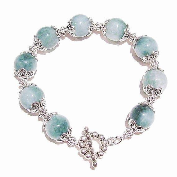 Green & White Quartz Gemstone Bracelet 20.5cm