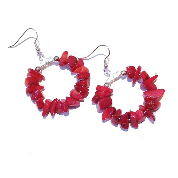Bright Red Coral Gemstone Chip Hoop Earrings 30mm