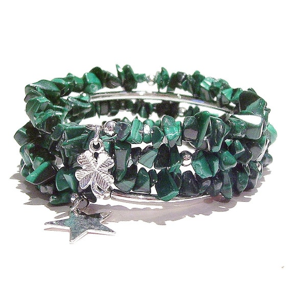 Green Malachite Gemstone Chip Memory Wire Wrap Cuff / Bangle