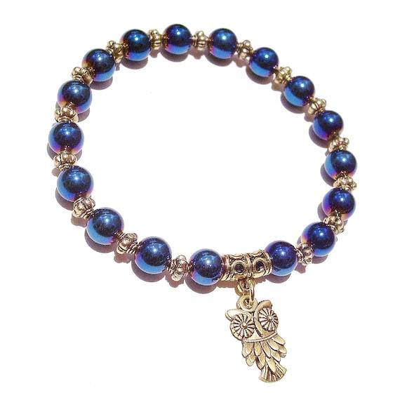 Blue Haematite & Antique Gold-Tone Stretch Bracelet Approx. 20.5cm