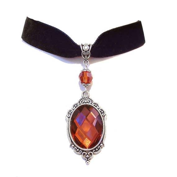 Tarja Indian Red Crystal & Black Velvet Gothic Choker Necklace