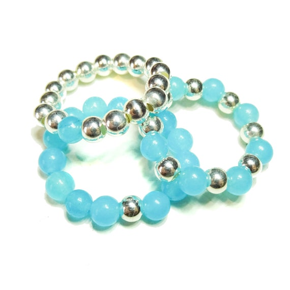 Aqua Blue Chalcedony Gemstone & Sterling Silver Stackable Stretch Rings