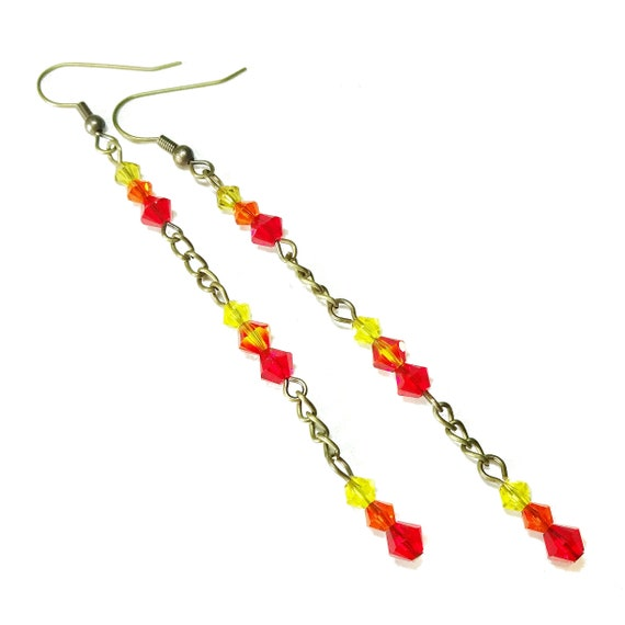 Red, Orange & Yellow Swarovski Crystal Long Drop Antique Brass Earrings