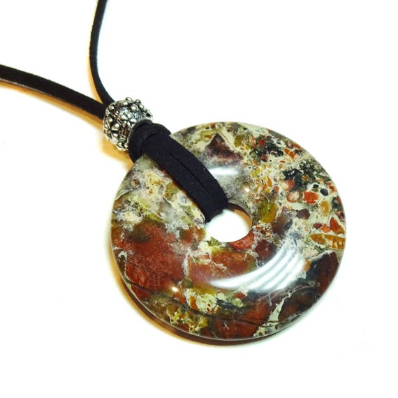 Brecciated Jasper  Large Round Gemstone Donut Pendant - 50mm