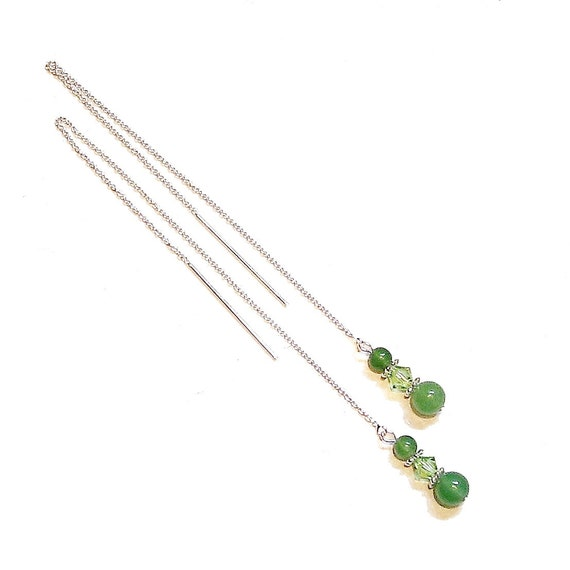Green Aventurine & Swarovski Crystal, Sterling Silver Pull Through Earrings 176mm
