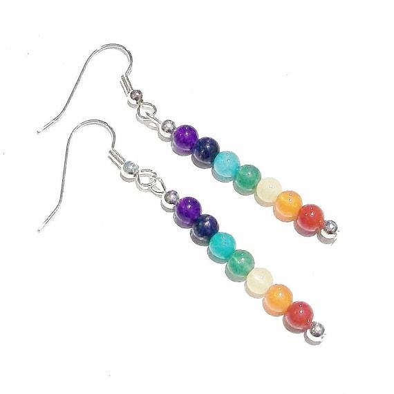 Semi-precious Gemstone Chakra / Meditation Drop Earrings - Silver or Gold