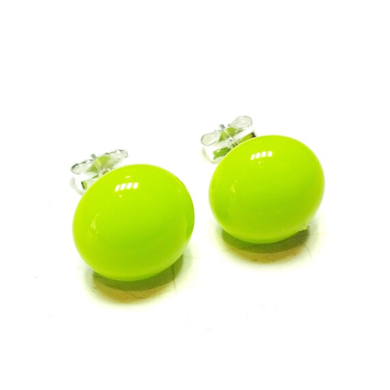Lime Green Fused Glass & Sterling Silver Stud Earrings