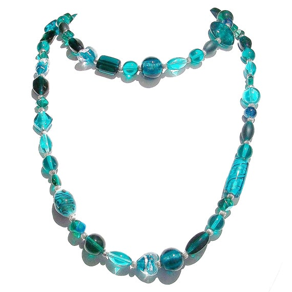 Boho Style Long Mixed Bead Necklace - Teal Green Approx. 39""