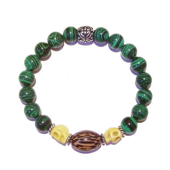 Green Malachite Men's Gemstone Stretch Bracelet w/Skull Beads & Wood Approx. 21cm