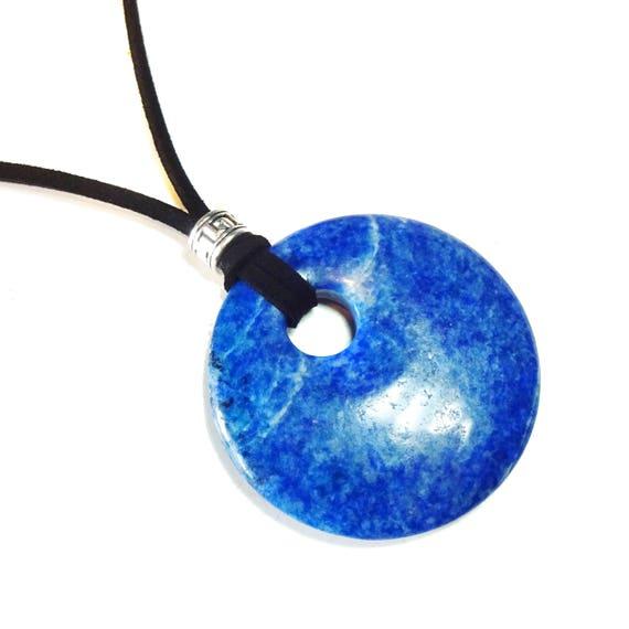 Blue Lapis Lazuli Large Round Gemstone Donut Pendant - 50mm