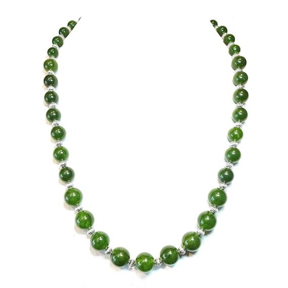 Green Taiwan Jade Semi-Precious Gemstone Graduated Necklace - 22 inches