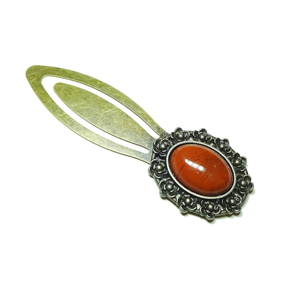 Red Jasper Semi-precious Gemstone Brass Clip Bookmark