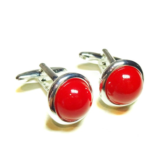 Red Jade Semi-precious Gemstone Round Cufflinks - Angled