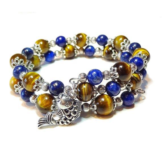 Brown Tiger's Eye & Blue Lapis Lazuli Gemstone Bangle