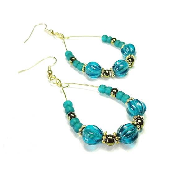 Teal Blue & Antique Gold Hoop Earrings with Czech Glass