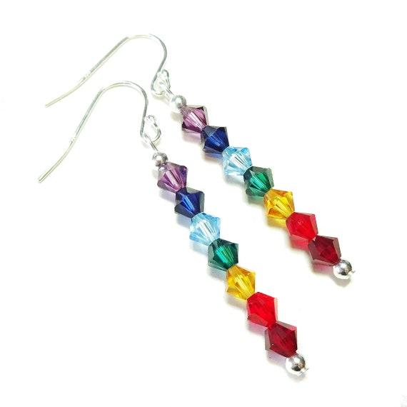Rainbow Swarovski Crystal & Sterling Silver Chakra Earrings