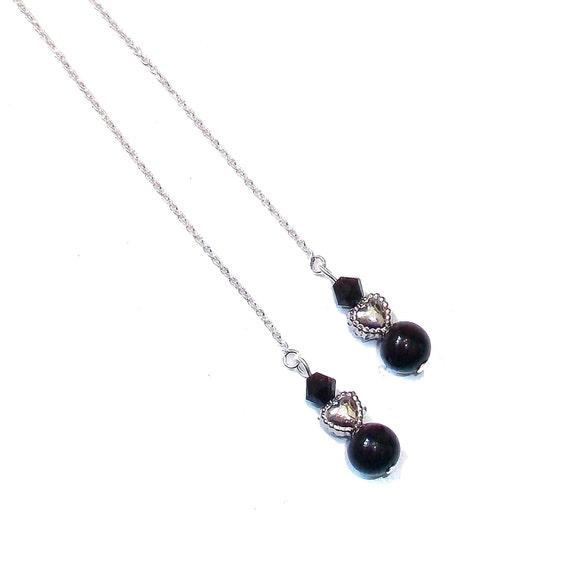 Black Onyx Gemstone & Swarovski Crsytal Sterling Silver Pull Through Heart Earrings - 174mm