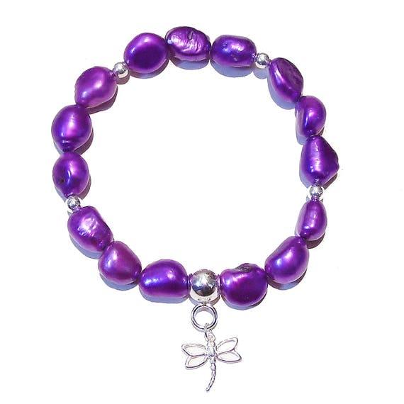 Purple Baroque Freshwater Pearl & Sterling Silver Stretch Bracelet - Ap. 19.5cm