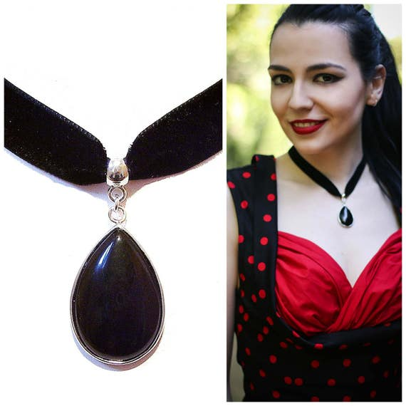 Black Velvet Choker Necklace w Semi-precious Tear Drop Pendant - Black Onyx