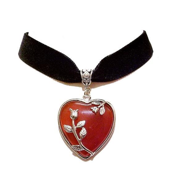Black Velvet Choker Necklace w Red Agate Gemstone Heart
