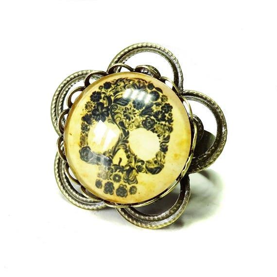 Antique Brass Skull Cameo Ring - Adjustable