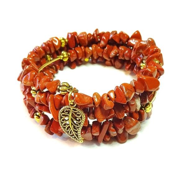 Red Jasper Gemstone & Gold-Tone Bead Memory Wire Wrap Cuff / Bangle