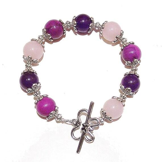 Azurite, Purple Quartz & Rose Quartz Handcrafted Bracelet 21cm