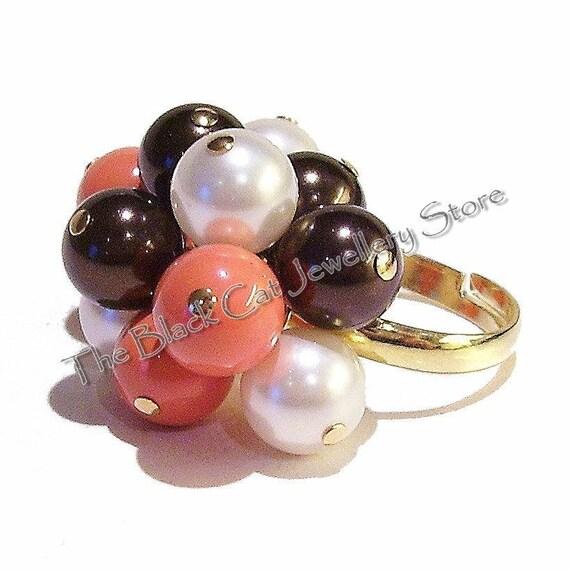 Ivory, Coral & Chocolate Swarovski Pearl Handmade Gold Plated Cha Cha Ring