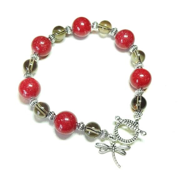 Red Mountain Jade & Smokey Quartz Gemstone Bracelet 21.5cm