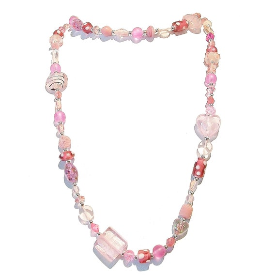 Boho Style Long Mixed Bead Necklace - Pink 39""