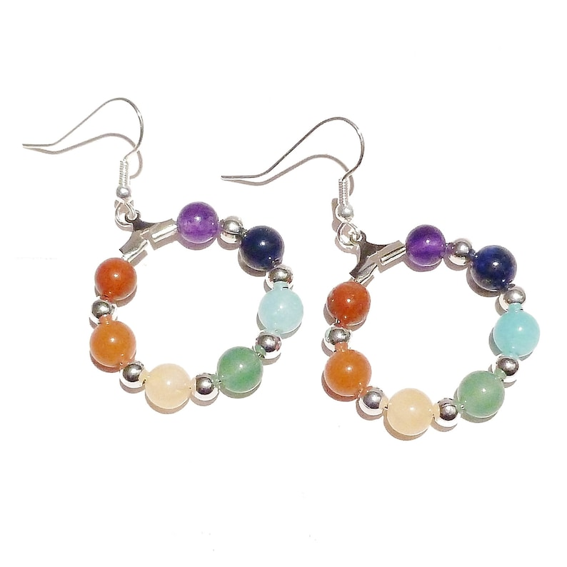 Rainbow Semi-precious Chakra  Meditation Hoop Earrings Silver or Gold Plated 25mm