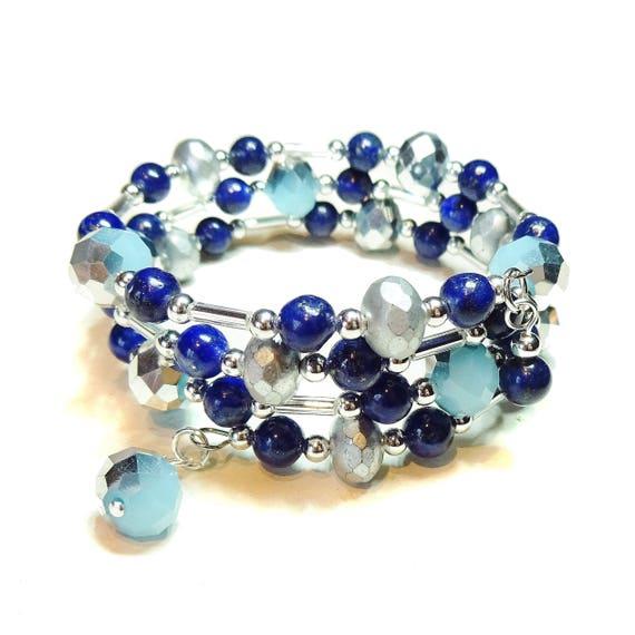 Blue Lapis Lazuli Gemstone & Czech Glass Wrap Bangle