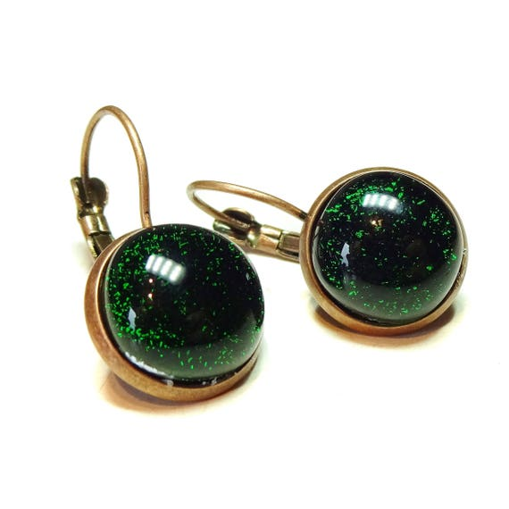 Dark Green Dichroic Glass Antique Copper Lever Back Earrings