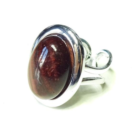 Red Tiger's Eye Classic Semi-precious Gemstone Adjustable Ring 23 x 17mm