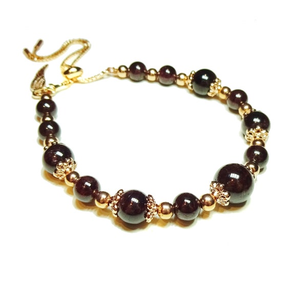 Dark Red Garnet & Rose Gold Plated Gemstone Slider Chain Bracelet