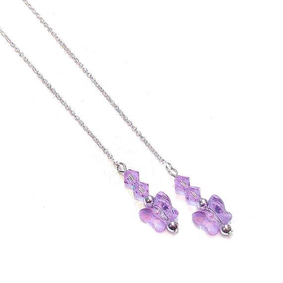 Lilac Purple Swarovski Butterfly & Sterling Silver Long Drop Chain Ear Threads - 174mm