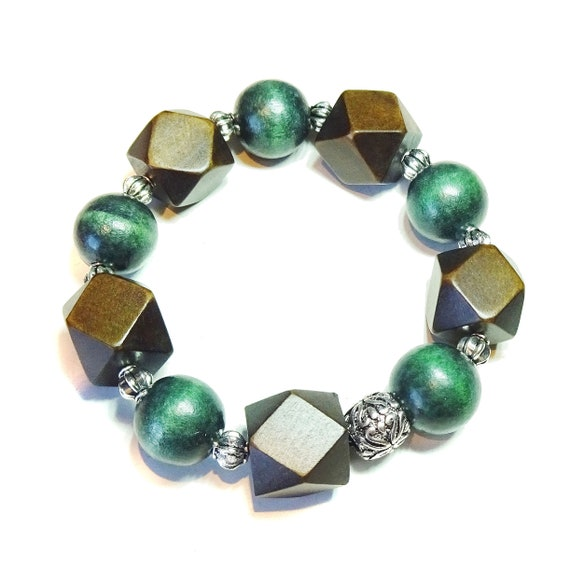 Green & Dark Brown Wood Bead Chunky Stretch Bracelet 21.5cm