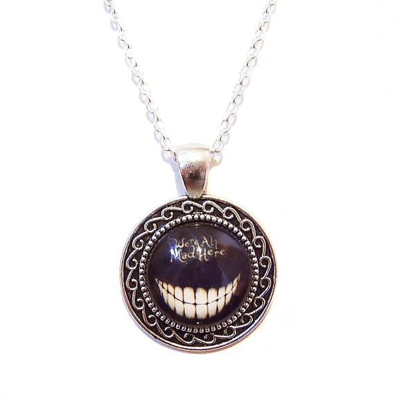 We're All Mad Here' Cheshire Cat Cameo Pendant