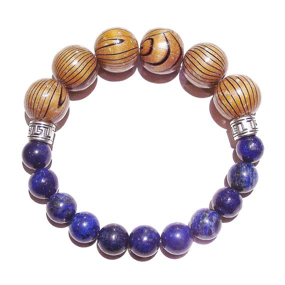 Men's Chunky Gemstone Stretch Bracelet - Lapis Lazuli & Wood - Approx. 21.5cm