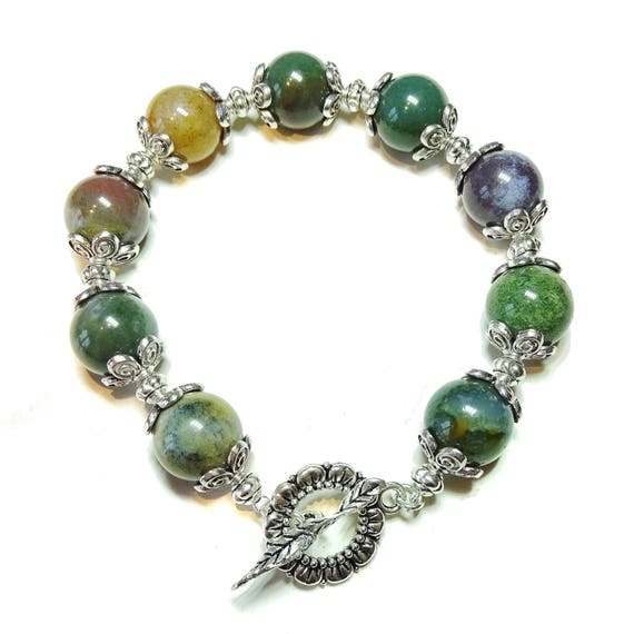 Green (mostly!) Indian Agate Gemstone Bracelet 21cm